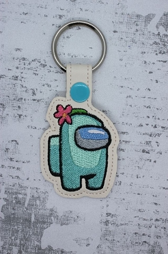 Flower Among us Snaptab / Keyfob Embroidery Design